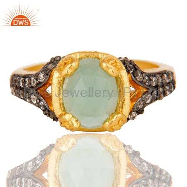 Exporter 18k Gold Plated Handmade Stackable Brass Ring with Aqua & Cubic Zarconia