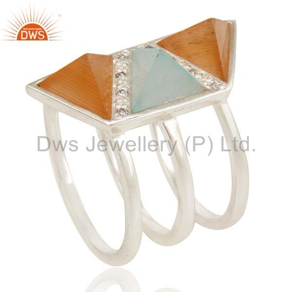 Exporter Solid Silver Plated 3 Set Of Brass Ring With Chalcedony, Peach Moonstone & CZ
