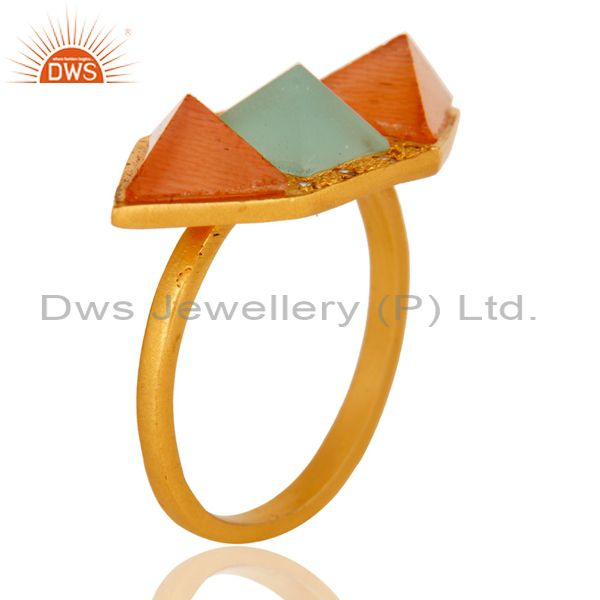 Exporter 18k Gold Plated Fancy Brass Ring with Moonstone, Aqua & Cubic Zarconia