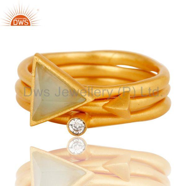 Exporter 18K Yellow Gold Plated 3 Set Of Brass Ring Dyed Chalcedony & White Zirconia