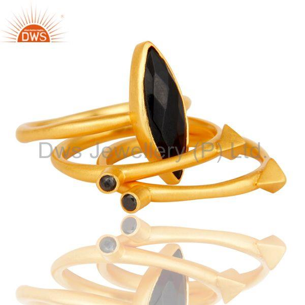 Exporter 18k Gold Plated Three Set Brass Ring with Black Onyx & White Zircon