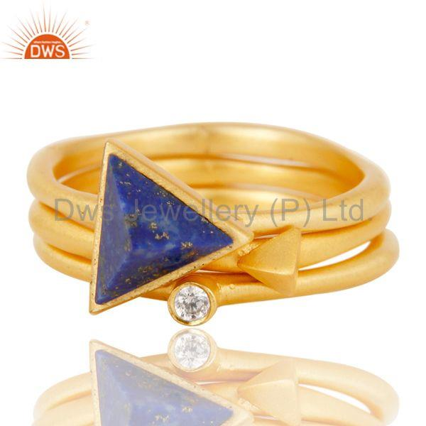 Exporter 18K Gold Plated Lapis Lazuli & White Zirconia 3 Set Of Brass Stackable Ring