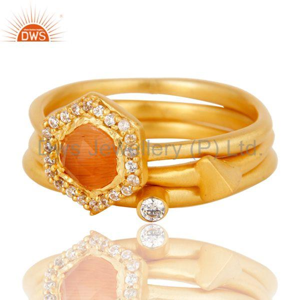 Exporter Peach Moonstone & White Zirconia 18K Gold Plated 3 Set Of Brass Stackable Ring