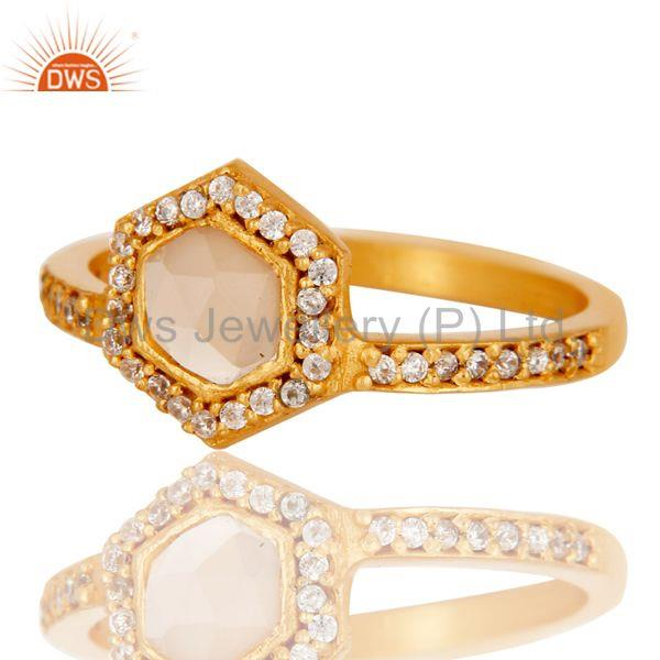 Exporter 18k Gold Plated Little Wedding Design Brass Ring with Chalcedony & CZ
