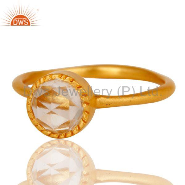 Exporter 18k Gold Plated Little Anniversary Brass Ring with Crystal Quartz