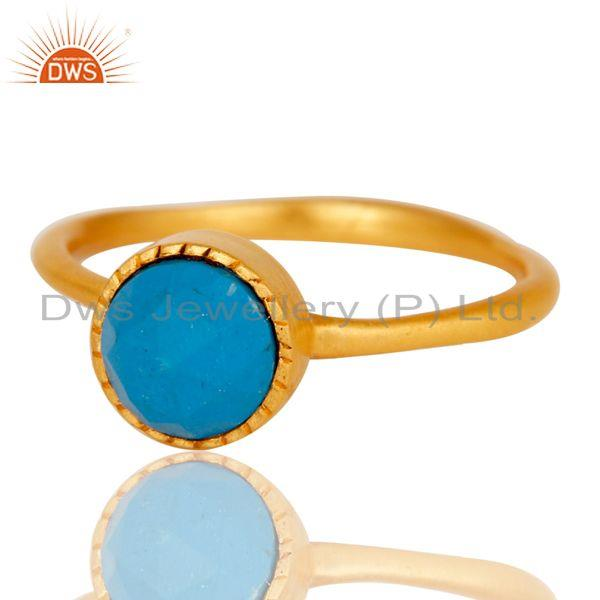 Exporter 18k Gold Plated Little Anniversary Brass Ring with Turquoise