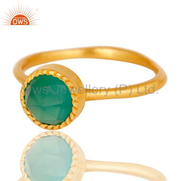 Exporter 18k Gold Plated Little Anniversary Brass Ring with Green Onyx