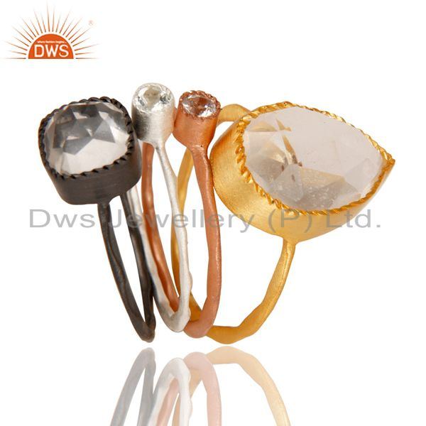 Exporter Crystal Quartz Multi Color Plated Brass Fashion Ring Set Jewelry