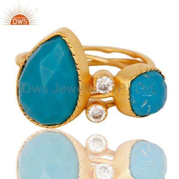 Exporter Turquoise Gemstone Gold Plated Brass Fashion Set of 4 Ring Jewelry