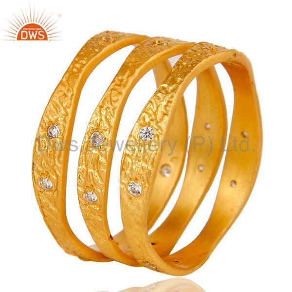 Exporter 18k Yellow Gold Plated Fashion Charming 3 Set of Brass Band Ring