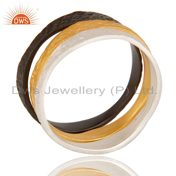 Exporter Handcrafted Brass Multi Color Plating Fashion Three Ring Set