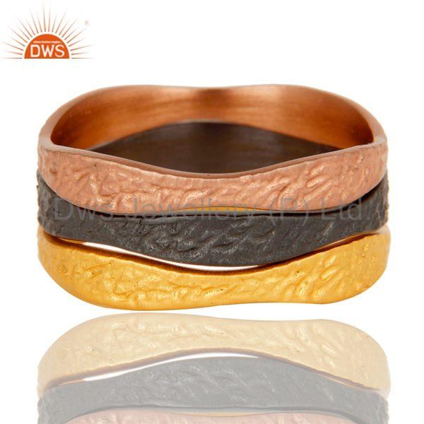 Exporter 18k Gold, Oxidized & Rose Plated 3 Set Tradional Handmade Brass Band Ring