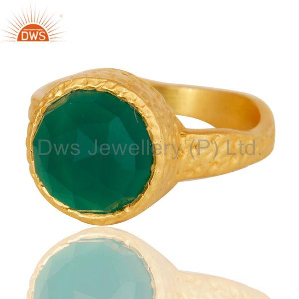Exporter 22k Yellow Gold Plated Handmade Faceted Green Onyx Statement Brass Ring