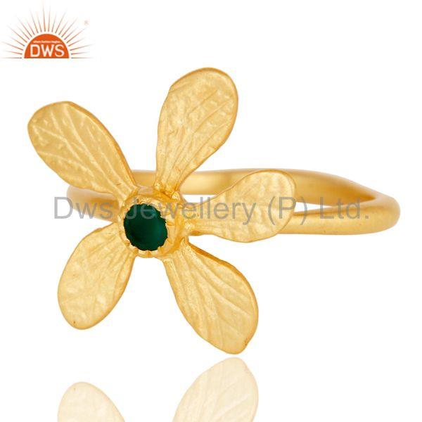 Exporter 18k Yellow Gold Plated Handmade Flower Design Green Onyx Brass Stackable Ring