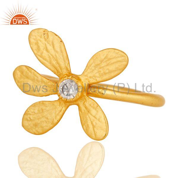 Exporter 18k Yellow Gold Plated Handmade Flower Design White Zircon Brass Stackable Ring