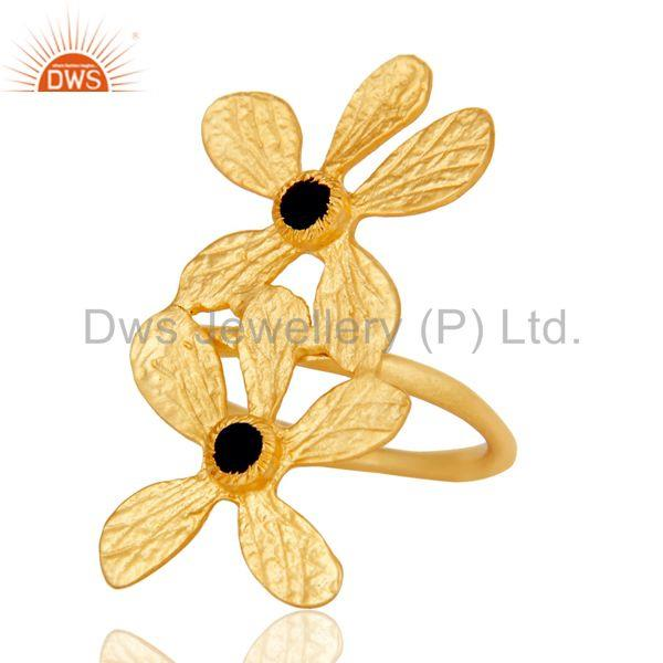 Exporter 18k Yellow Gold Plated Handmade Double Flower Design Black Onyx Brass Ring