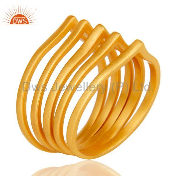 Exporter Chevron Stackable Five Ring Designer Gold Plated Fashion Jewelry
