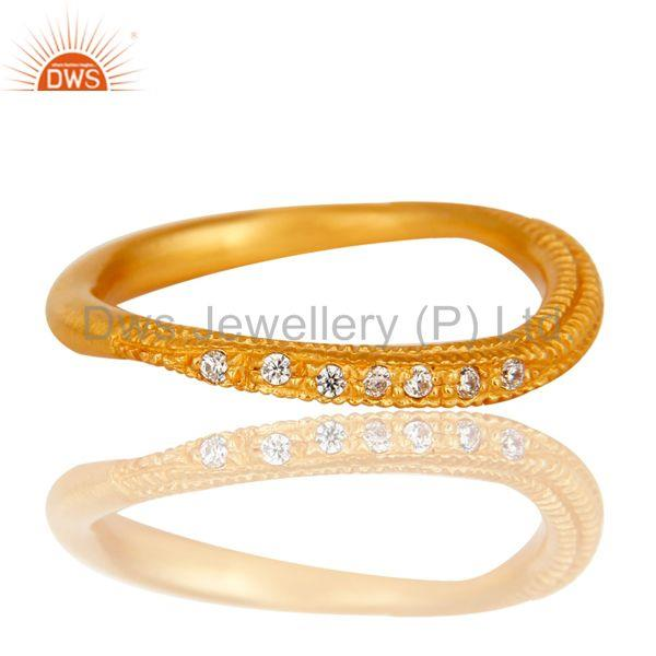 Exporter Traditional Handmade Engagement Brass Ring with 18k Gold Plated & CZ