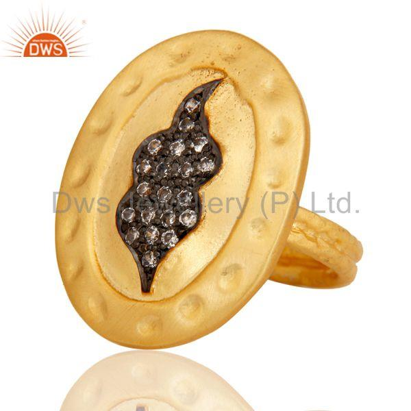 Exporter Handmade Painting White Zirconia Brass Cocktail Ring With 18k Yellow Gold Plated