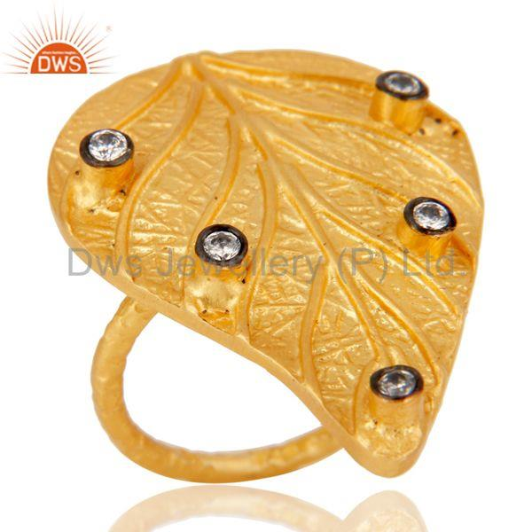 Exporter Traditional 22K Yellow Gold Plated Leaf Design White Zirconia Brass Ring