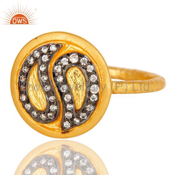 Exporter Handmade White Zircon Brass Stacking Ring with 18k Gold Plated