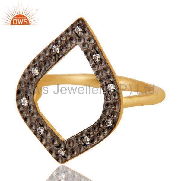 Exporter Traditional Handmade Art Deco Brass Ring With 18K Gold Plated & White Zirconia