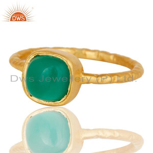 Exporter Green Onyx cushion Studded Designer Stackalble Fashion Ring