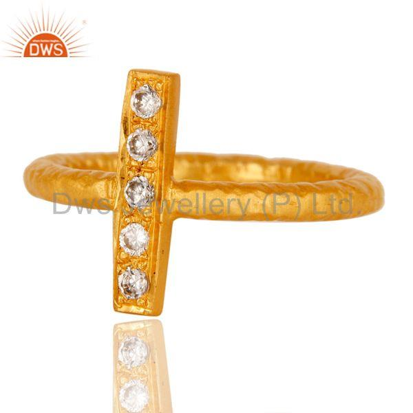 Exporter 18k Gold Plated Handmade Brass Statement Ring with White Zircon