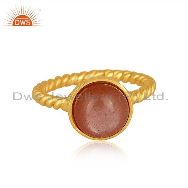 Peach moonstone set gold on 925 silver twisted designer ring