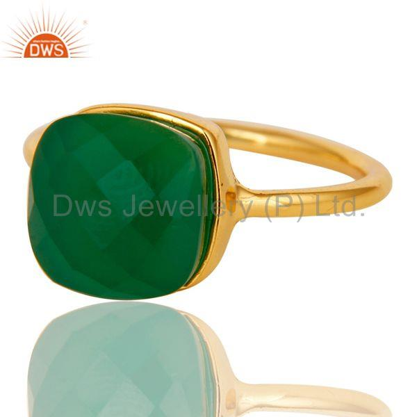 Exporter Green Onyx Studded Rose Gold Plated Statement Designer Fashion Ring