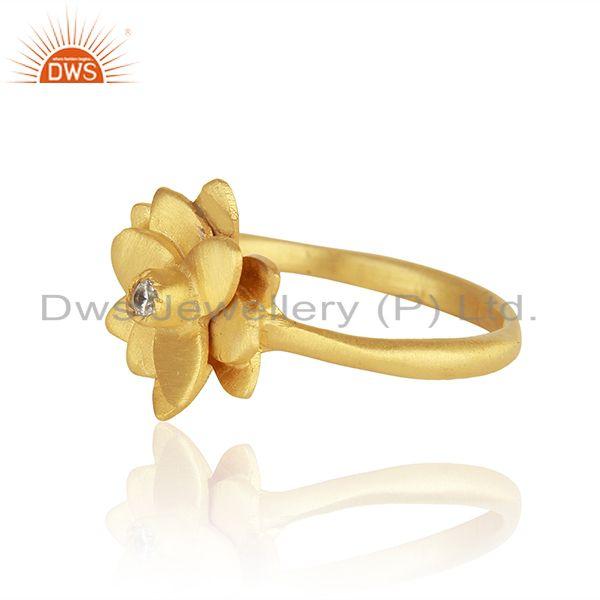 Exporter Floral Design 14k Gold Plated White Zircon Ring Jewelry Manufacturers