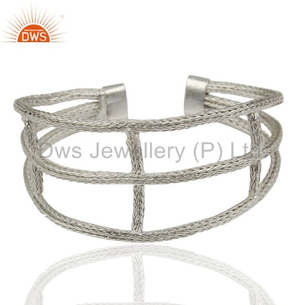 Exporter 925 Sterling Silver Woven Chain Wide Cuff Bracelet Bangle Jewelry