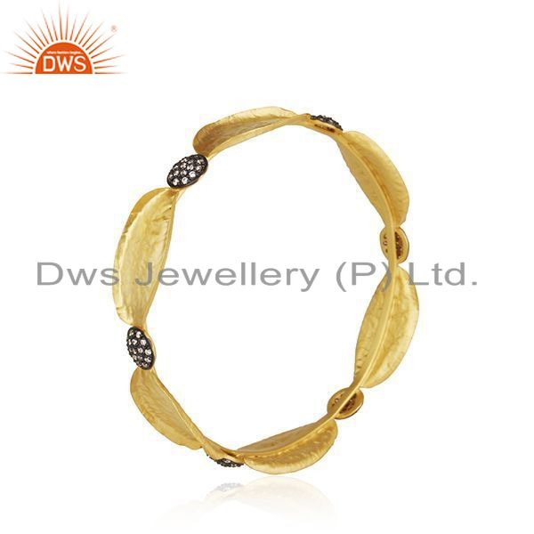Supplier of 14k yellow gold plated 925 silver cubic zirconia fashion bangle