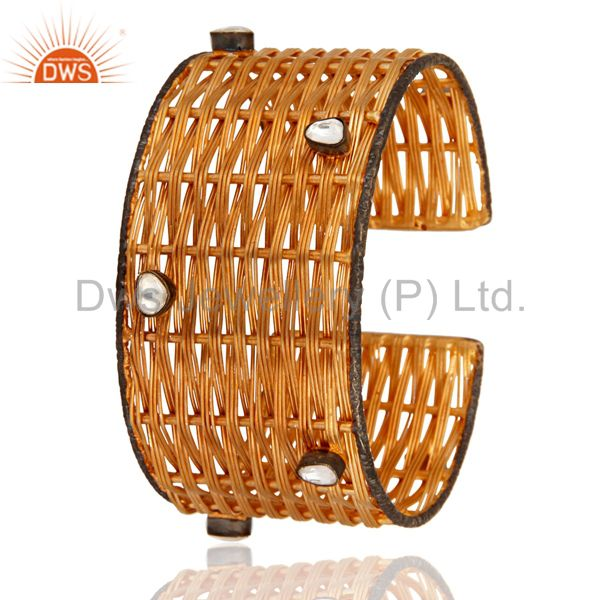 Exporter 18-Karat Yellow Gold Plated Over Brass Wire Weave Cuff With Crystal Polki
