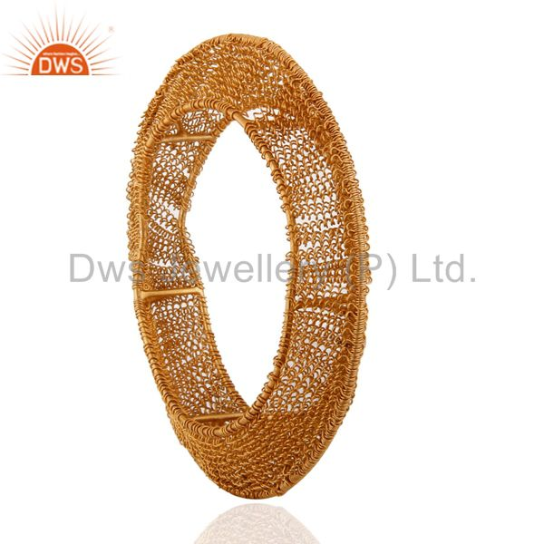 Supplier of 18k gold over 925 silver wire spiral cuff bangle plain jewelry