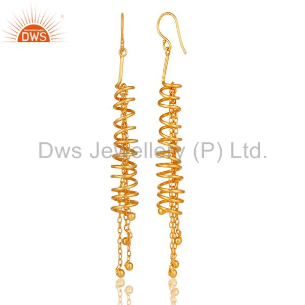 Exporter 18K Gold Over 925 Sterling Silver Twisted Wire Spiral Chain Fashion Earrings