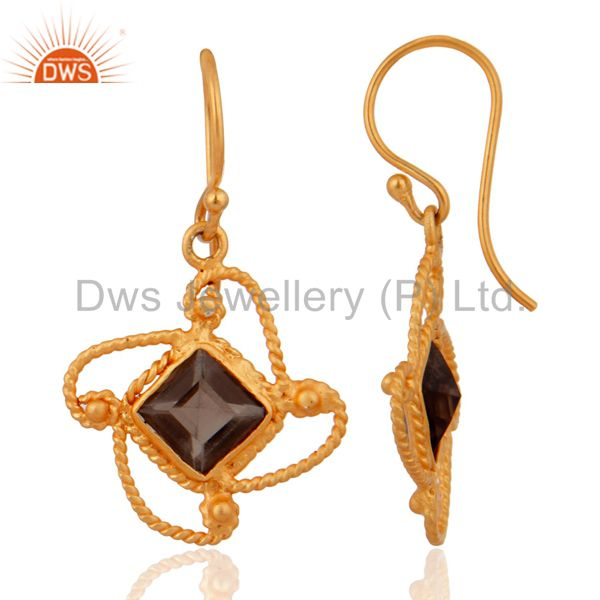 Exporter Smoky Quartz Gemstone Handmade Gold Plated 925 Silver Designer Dangle Earrings
