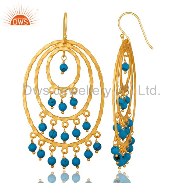 Exporter 22K Yellow Gold Plated Sterling Silver Turquoise Hammered Chandelier Earrings