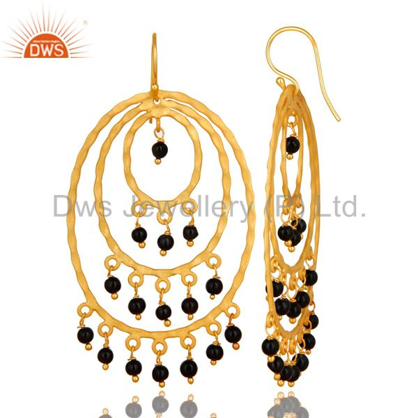 Exporter 22K Yellow Gold Plated Sterling Silver Black Onyx Hammered Chandelier Earrings