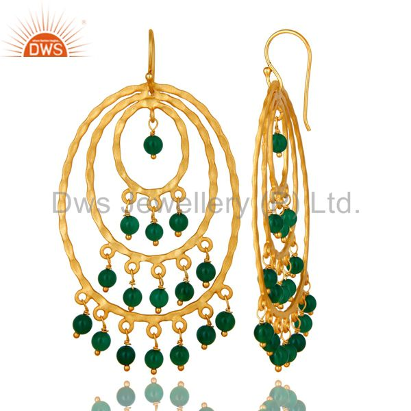 Exporter 22K Yellow Gold Plated Sterling Silver Green Onyx Hammered Chandelier Earrings