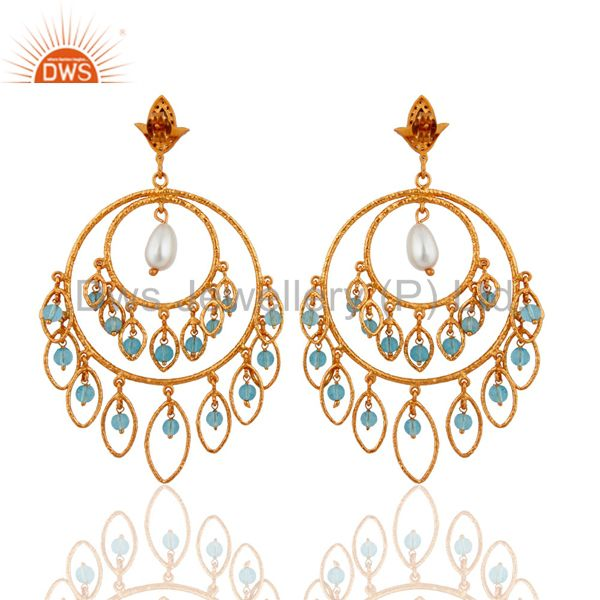 Exporter 24K Gold Plated Over 925 Sterling Silver Blue Topaz & Pearl Chandelier Earrings