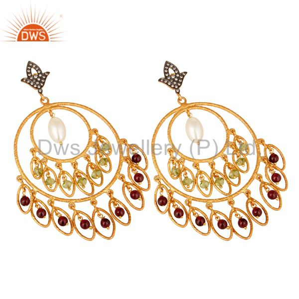 Exporter 22K Gold Plated Sterling Silver Garnet, Peridot And Pearl Chandelier Earrings