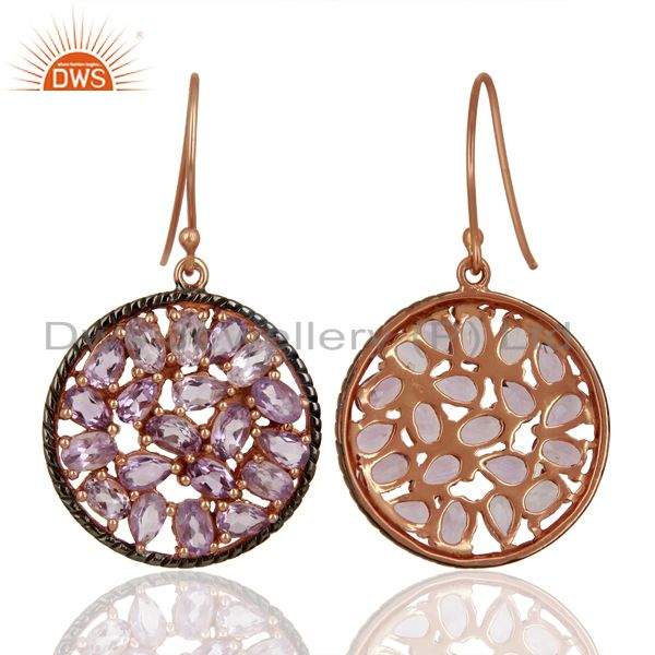 Exporter Natural Amethyst Gemstone Pave Set Diamond Silver Earrings Jewelry