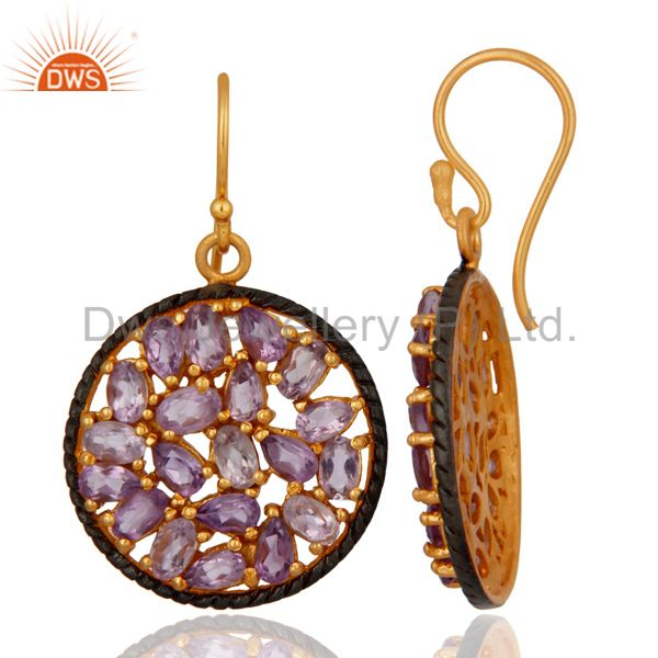 Exporter Handmade 925 Sterling Silver Amethyst Gemstone Earring Gold Plated Jewellery