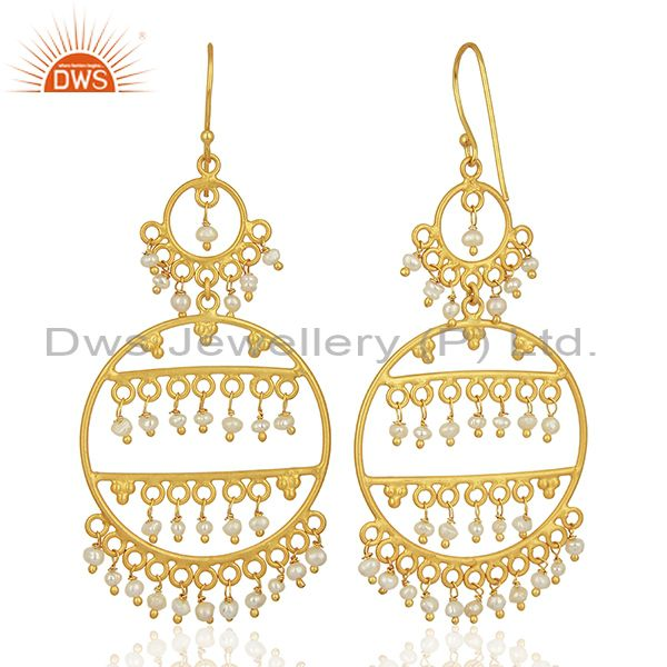 Exporter Natural Pearl Gemstone Gold Plated 925 Silver Womens Earrings Jewelry