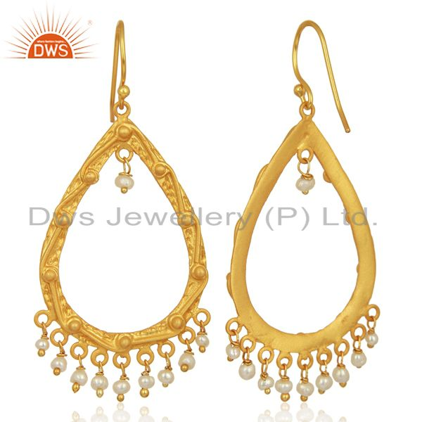 Exporter Natural Pearl Gemstone Gold Plated Silver Womens Wedding Earrings