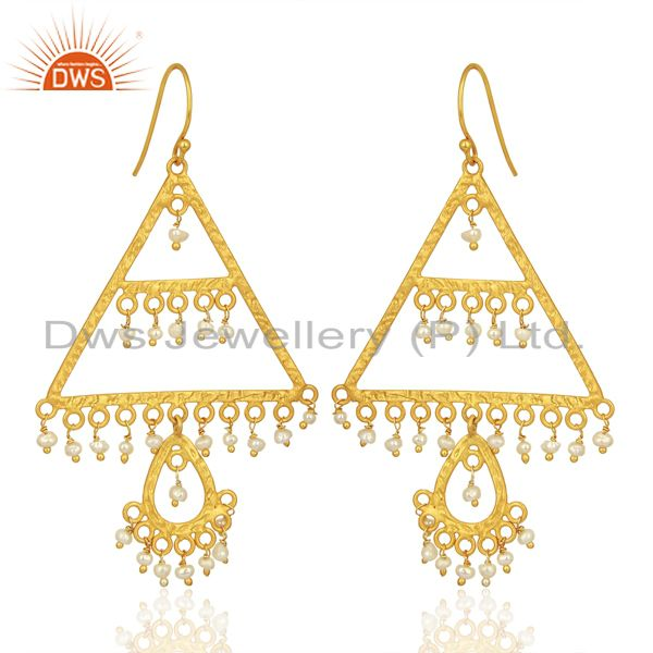Exporter Wholesale Natural Pearl Gemstone Gold Plated Silver Designer Earrings