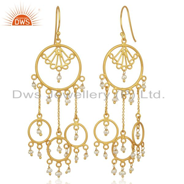 Exporter Pearl Circles 925 Sterling Silver 18K Gold Plated Chandelier Long Earrings