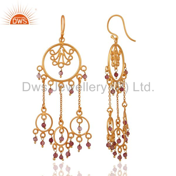 Exporter Natural Tourmaline Indian 925 Silver Designer Gold Plated Party Wear Earrings