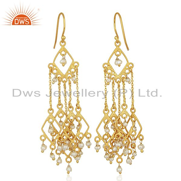 Exporter Designer Gold Plated Natural Pearl Gemstone Earrings Jewelry Wholesale